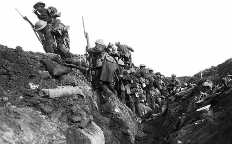 Soldiers going over the top of a trench | CRC NI