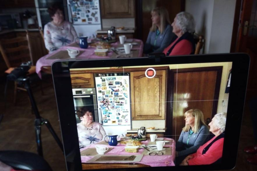 Three women being filmed for the documentary | CRC NI