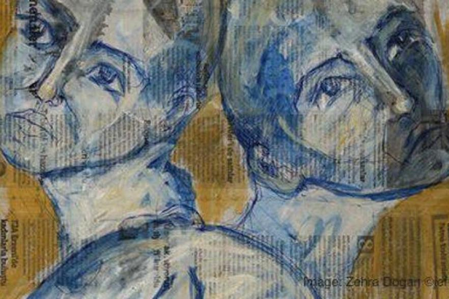A stylised painting of two people | CRC NI