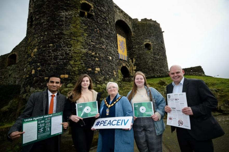 Several people outside a castle   NI CRC