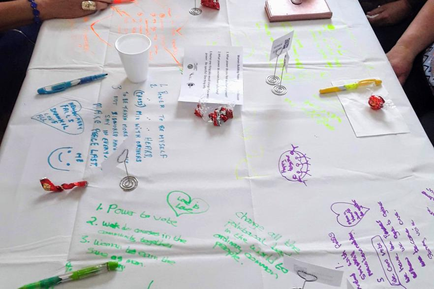 A tablecloth containing written work from several women | CRC NI