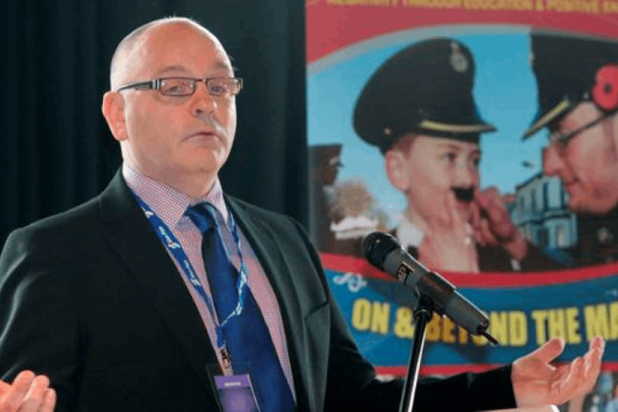 Derek Moore (Londonderry Bands Forum) speaking at a conference | CRC NI