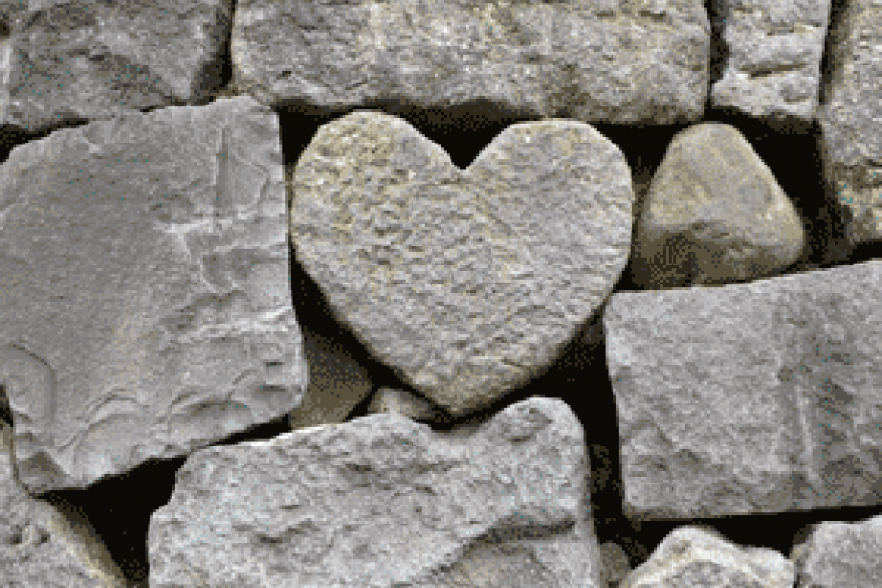 Natural stone carved into the shape of a heart | NICRC