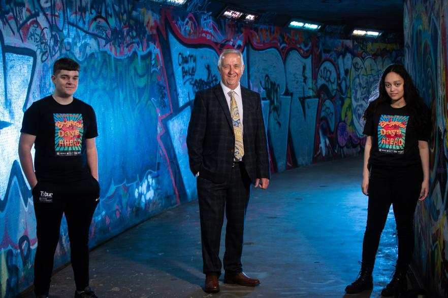 Pictured launching Good Relations Week 2021 is Martin McDonald MBE, Chair of the Community Relations Council (centre) and local young people Aaron Smith (left) and Esraa Hamido (right) | NICRC